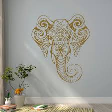 gold elephant wall decal indian elephant vinyl decal yoga zoom