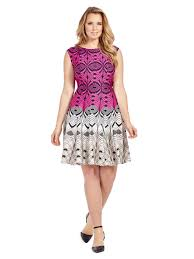 print dress julian two tone geometric print dress in pink gwynnie bee