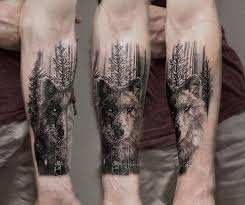 trends wolf in forest mens forearm tree design