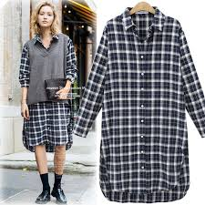 in the spring of 2017 new large size women dress lapel plaid shirt