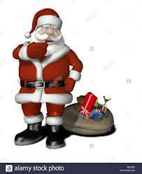 santa claus with gifts and christmas tree cartoon stock photo