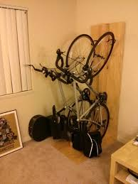 interior wall mounted single bike rack with wire lock with bike