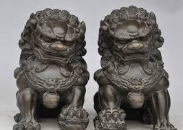 lion dog statue song voge gem s2921 bronze folk temple fengshui fu dog