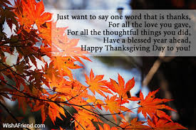just want to say one word thanksgiving message