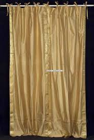 golden tie top sheer sari curtain drape panel pair indian