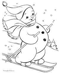 druckbare weihnachten ausmalbilder skifahren schneemann 7545