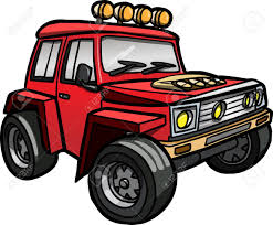 jeep vector illustration of a cartoon red jeep isolated colored royalty free