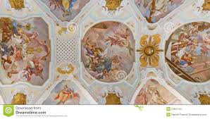 ceiling frescos at baroque church stock image image 23641447