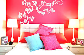 stylish bedroom wall painting design and ideas with bright red and