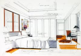 interior sketch by pencil and pen color free hand sketch a