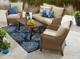 Faux Wicker Patio Sets Bh U0026 G Camrose Farmhouse Conversation Resin Wicker Patio Furniture