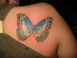 old blue butterfly tattoo design on back shoulder tattooshunter com
