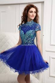 gorgeous high neck royal blue rhinestone organza cocktail dress