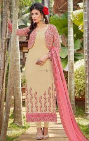 buy jacket style embroidered punjabi suits models with fancy laced