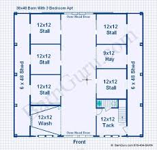 floor plan horse barn with 5 stall and 3 bedroom apt above