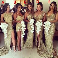 wedding bridesmaid dresses 2017 charming mismatched gold side split sparkly
