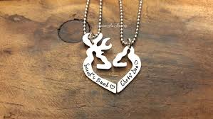 Buck And Doe Couples Necklace Personalized Her Buck His Doe Necklace Set Personalized Gift Set