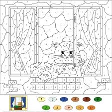 cat color number free printable coloring pages