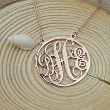 three initial monogram necklace monogram necklace personalized three initial monogram necklace