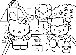 hello kitty at the playground coloring page wecoloringpage