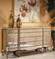 6 drawers mirrored credenza sideboard large size solid wood mdf