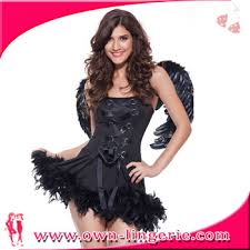 Halloween Costume Devil Woman Fux Feather Black Devil Angel Woman Costume Halloween