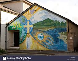 religious mural painted on a methodist church building abergavenny religious mural painted on a methodist church building abergavenny wales uk