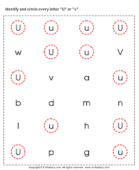 identifying lowercase and uppercase letter u worksheet turtle diary