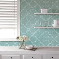 nuwallpaper slate blue quatrefoil peel and stick wallpaper sample