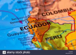 world map of capital cities ecuador and capital city quito on the world map stock photo