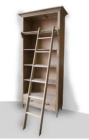 french provincial library bookcase in natural oak with ladder