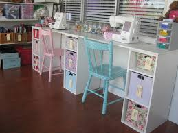 sewing craft room design style with white wooden sewing table and