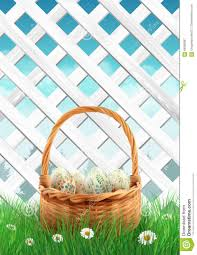 easter basket grass white garden fence with easter basket grass and flowers