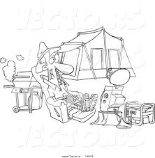 vector of a cartoon man watching tv hooked up to a generator at
