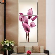 home decoration painting beautiful lily flowers printed on canvas 3 panels home decor wall