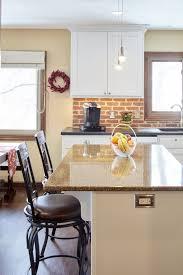Galley Kitchen Peninsula Cherry Cabinets And Peninsula Island With White Quartz Countertop