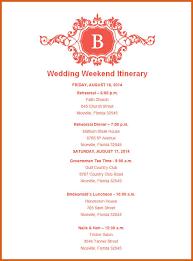 wedding itinerary template wedding itinerary template apa exles