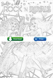 barbie free coloring pages in rock u0027n royals