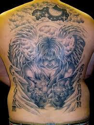 big alien angel tattoo on back tattoos book