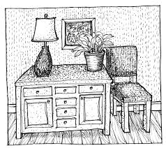 hand rendering interiors drawing hand table chair 2