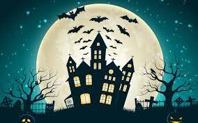 halloween scary wallpaper wallpaper scary house bats full moon pumpkins 4k celebrations