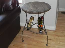 handmade iron wine rack serving table with distressed wood top by