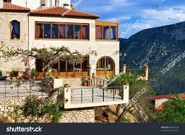 house on steep slope mount parnassus stock photo 54414394