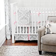 Gray Baby Crib Bedding Damask Crib Bedding Set Rosenberryrooms