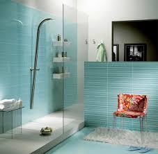 interesting blue glass bathroom tile with minimalist interior home