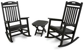 Outdoor Rockers Furniture Set Of Two Black Wood Outdoor Rockers With Square