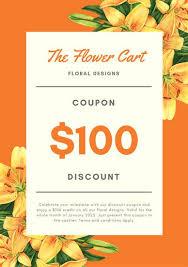 discount flowers orange flowers discount coupon templates by canva