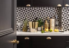 Triangle Cabinets Black And White Triangle Backsplash Tiles Contemporary Kitchen