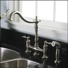 bridge style kitchen faucet brushed nickel kitchen faucet with matching sprayer bridge style
