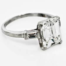 vintage emerald engagement rings vintage emerald cut diamond engagement ring claude morady estate